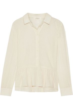 THE GREAT. Oxford ruffled cotton-gauze shirt
