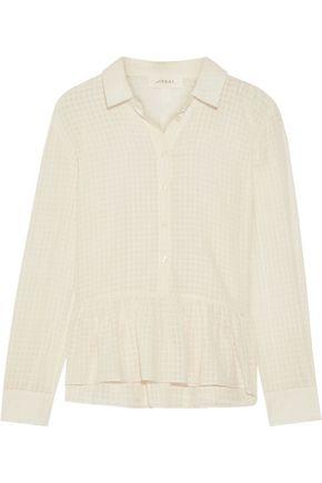 THE GREAT. Oxford ruffled cotton-gauze shirt