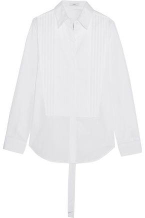 TOME Open-back cotton-poplin shirt