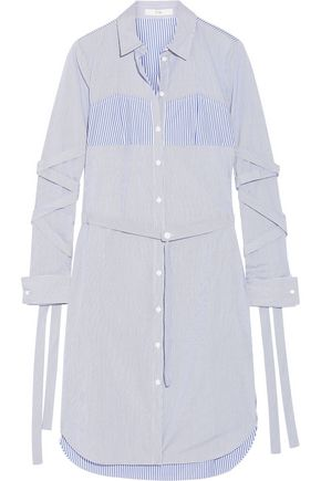 TIBI Striped cotton-poplin dress