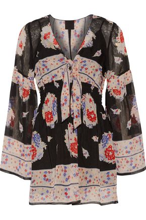 ANNA SUI Shirred printed silk-voile mini dress