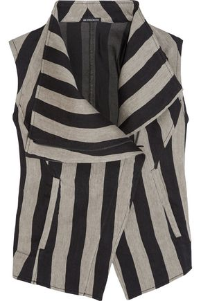 ANN DEMEULEMEESTER Printed striped linen-blend vest