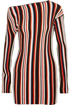 JACQUEMUS One-shoulder striped wool mini dress