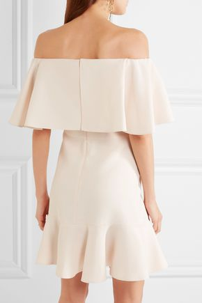 VALENTINO Off-the-shoulder wool and silk-blend crepe mini dress