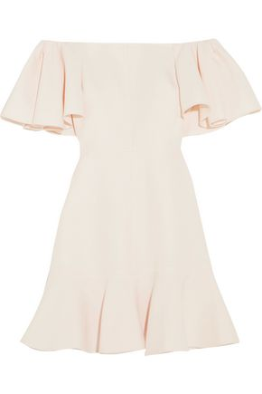 VALENTINO Off-the-shoulder wool and silk-blend mini dress