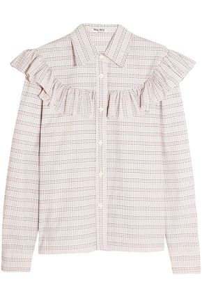MIU MIU Ruffle-trimmed checked cotton-poplin shirt