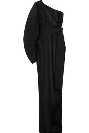 SOLACE LONDON Torrance one-shoulder plissé-satin maxi dress