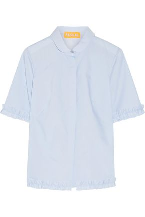 PASKAL Ruffle-trimmed stretch-cotton poplin shirt
