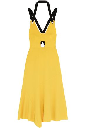 REBECCA VALLANCE Breakers grosgrain-trimmed stretch-crepe dress