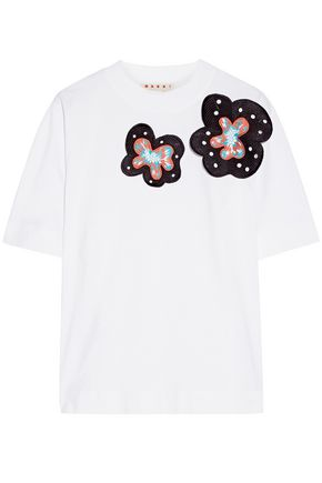 MARNI Appliquéd stretch-cotton jersey T-shirt