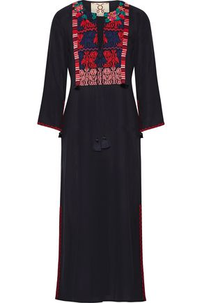FIGUE Josefina tasseled embroidered cotton-blend midi dress