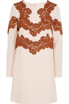 CHLOÉ Lace-appliquéd wool-blend mini dress