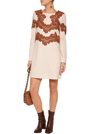 CHLOÉ Lace-appliquéd wool-blend mini dress