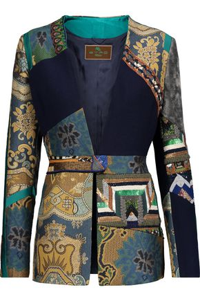 ETRO Patchwork embellished wool-crepe, jacquard and velvet jacket