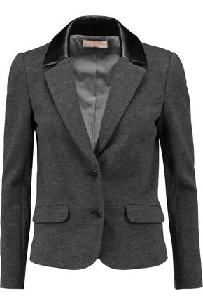 TORY BURCH Lovanni faux leather-trimmed wool-blend blazer