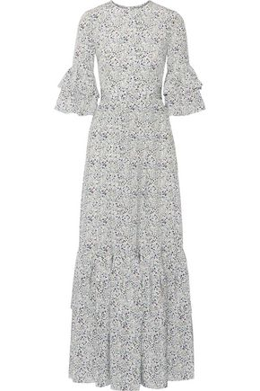 CO Ruffled floral-print silk crepe de chine maxi dress