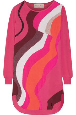 EMILIO PUCCI Metallic jacquard-knit wool-blend mini dress