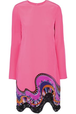 EMILIO PUCCI Lace-trimmed printed silk crepe de chine mini dress