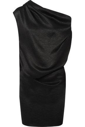 LANVIN One-shoulder draped chain-trimmed satin-jersey mini dress