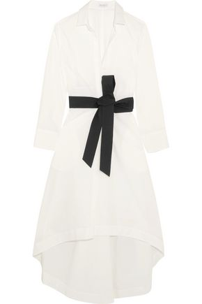 BRUNELLO CUCINELLI Belted cotton-blend midi dress