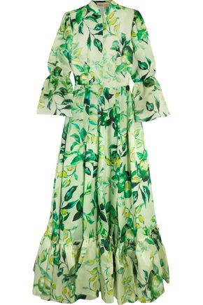 MERCHANT ARCHIVE Tiered printed silk-organza gown