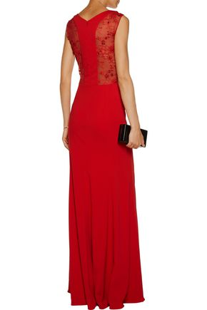 ... MARCHESA NOTTE Embellished lace-paneled stretch-cady gown