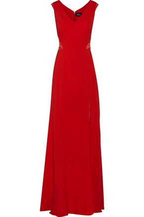 MARCHESA NOTTE Embellished lace-paneled stretch-cady gown