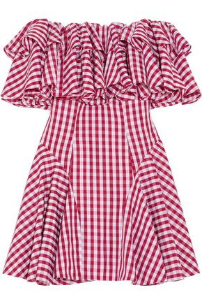 HOUSE OF HOLLAND Off-the-shoulder ruffled gingham poplin mini dress