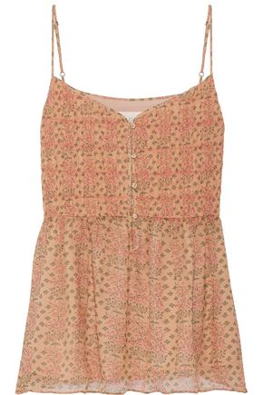 THE GREAT. The Manor printed silk-chiffon camisole