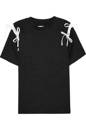 FACETASM Bow-embellished cutout cotton-jersey T-shirt