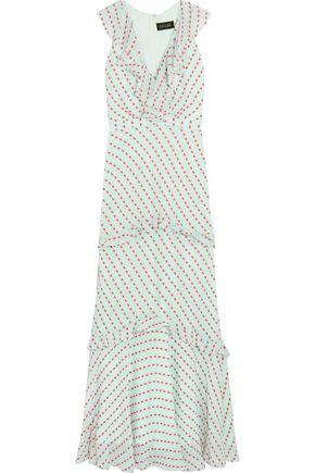 SALONI Rita ruffled fil coupé georgette maxi dress