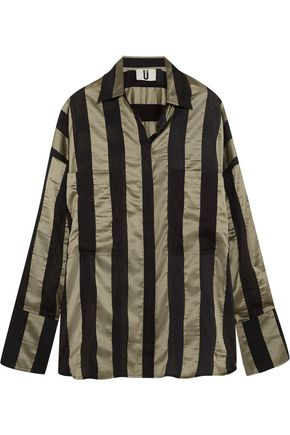 TOPSHOP UNIQUE Duvall oversized striped satin shirt