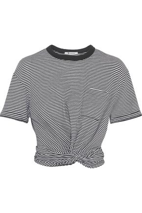 T by ALEXANDER WANG Cropped twist-front striped cotton-jersey T-shirt