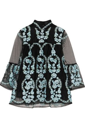 ANNA SUI Embroidered tulle top