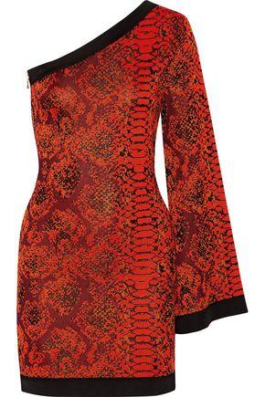 BALMAIN One-shoulder jacquard-knit mini dress
