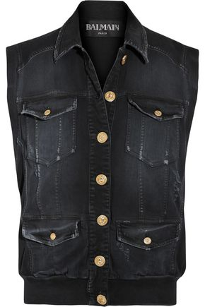 BALMAIN Distressed denim gilet