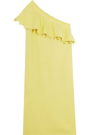 APIECE APART Reina ruffled one-shoulder Tencel and linen-blend midi dress