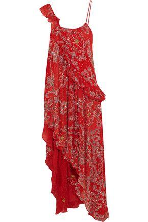 ASHISH Asymmetric embellished silk-georgette dress