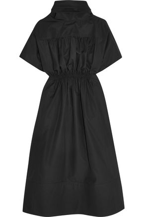 BARBARA CASASOLA Shirred cotton-poplin midi dress