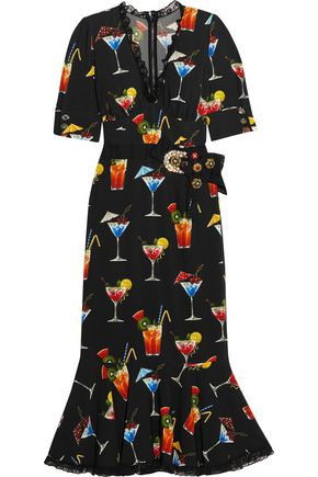 DOLCE & GABBANA Lace-trimmed embellished printed crepe de chine dress