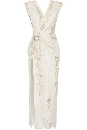 ALESSANDRA RICH Wrap-effect crystal-embellished metallic lace gown