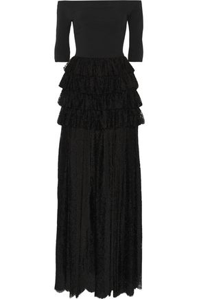 ALESSANDRA RICH Off-the-shoulder ruffled guipure lace and cady gown