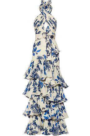 JOHANNA ORTIZ Magdalena ruffled printed silk-georgette gown