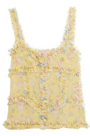 ATTICO Ana ruffled floral-print silk-chiffon camisole