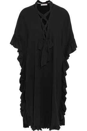 SEE BY CHLOÉ Lace-up ruffled cotton and linen-blend midi dress