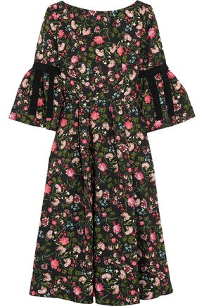 ERDEM Aleena grosgrain-trimmed matelassé dress