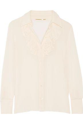 SAINT LAURENT Ruffled silk-georgette shirt