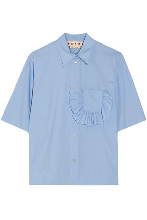 MARNI Ruffle-trimmed cotton-poplin shirt