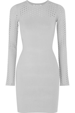AUTUMN CASHMERE Perforated-paneled stretch-knit dress