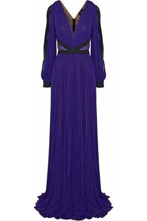 J. MENDEL Lace-paneled satin-trimmed plissé chiffon gown